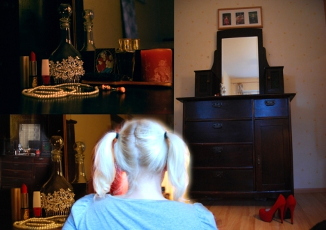 """Maiju Liukkonen Tehtävä 4: Missä kuljin kerran. Teos """"Omenantuoksuisessa mummolassa kasvoi tämä tyttö"""" tutkii tärkeään paikkaan sisältyviä muistoja ja kasvua digitaalisen kuvakollaasin keinoin. Digitaalinen värivedos A4."""