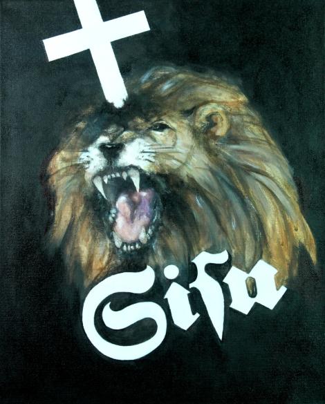 Meri-Tuulia Mäkelä Tehtävä 3: Kuvassa on voimaa Teos tuo uuden, kyseenalaistavan näkökulman suomalaista identiteettiä osaltaan määritteleviin symboleihin: leijonaan, ristiin ja sisuun. Öljy kankaalle 40 X 50 cm.