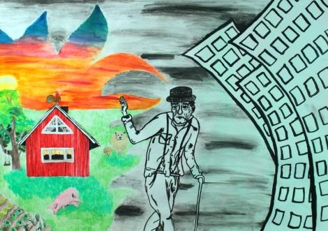 Linda Niemisalo Tehtävä 3: Kuvassa on voimaa Piippolan vaari -teos tutkii maaltamuuttoa ja kaupungistumista lapsuuden näkökulmasta käsin esikuvinaan mm. ranskalaiset realistit ja suomalaiset naivistit. Akvarelli ja peiteväri paperille 60 X 45 cm.