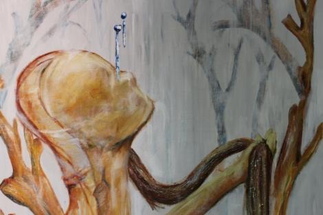 """Yksityiskohta Vilhelmiina Joensuun maalauksesta """"Hetken Uskoit Sen Olevan Totta""""."""