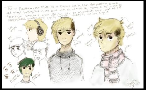 Kuvassa on Emilia Sorvojan ELO6-kurssille tehtyjä hahmosuunnitelmia. Piirros: Emilia Sorvoja.