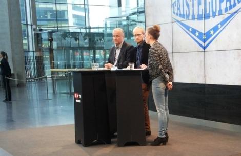 Andersson ja Rehn Sanomatalossa. Kuva Johanna Karvinen.