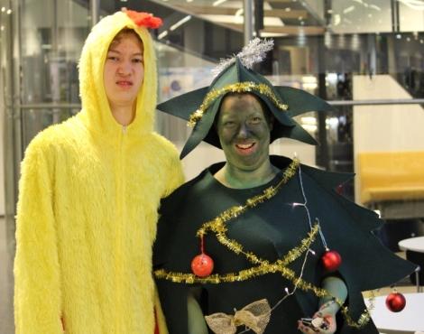 Kana ja joulukuusi, värien harmoniaa! Kuva: Antti Pentikäinen
