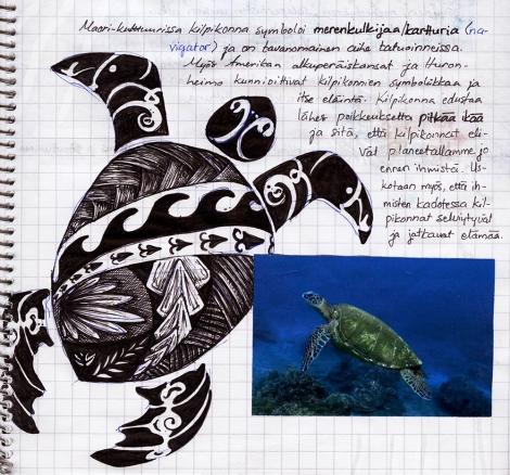 Kilpikonnalla on monessa kulttuurissa mytologisia merkityksia. Kuva on Pyryn portfoliosta.