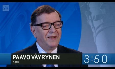 Paavo Väyrynen Ylen vaaligallerian haastattelussa. Kuva on ruutukaappaus Ylen nettisivulta.
