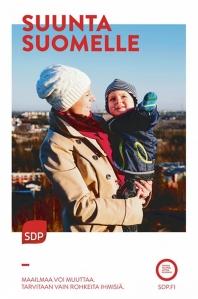 SDP:n juliste muistuttaa perhearvoista.