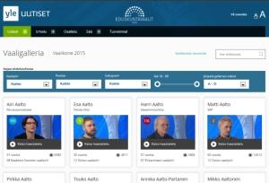 Ylen vaaligalleria löytyy osoitteesta http://vaalikone.yle.fi/eduskuntavaalit2015/vaaligalleria/. Kuva on ruutukaappaus Ylen sivusta.